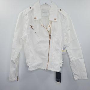 Blank NYC Denim Trucker Jacket White Rose Gold NEW